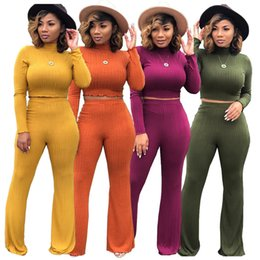 Wholesale low waist sexy legging pants resale online - Woman clothes sweater Two piece set of sexy open Waist Wide Leg Pants high collar sweater Hot sale