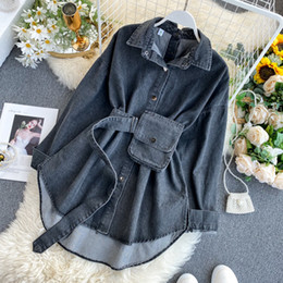 womens button down blouses NZ - Women Spring Denim Blouses Coat Turn Down Collar Sexy Button Design Womens Denim Shirt Style Coat Women Tops Blusas 200924
