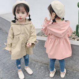 Wholesale korean fashion trench coat for sale - Group buy Classic Spring Autumn Girls Fashion Hooded Trench Coat Korean Style Kids Cotton Jackets for Girls Outerwear Tops Children Clothes