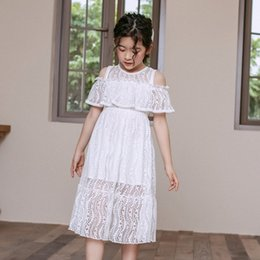 off white baby dress Australia - 4 To 14 Years Kids and Teen Girls Summer Lace Dress Baby Girls White Princess Dress Cute Off-shoulder Elegant xNX2#
