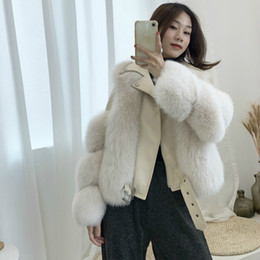 Wholesale long vest fur women resale online - OFTBUY High Quality Luxury Real Fur Coat Winter Jacket Women Natural Fox Fur Genuine Leather Sheep Skin Thick Warm Vest New