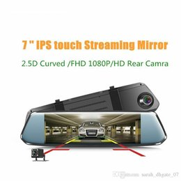 wholesale hd night vision glasses NZ - 7'' IPS Curved screen Car DVR Stream RearView Mirror Dash cam Full HD 1080 Car Video Record Camera with 2.5D curved glass