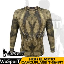 tactical uniforms 2020 - WoSporT Tactical Camouflage Shirt Quick Dry Breathable Tighy Army T-shirt High Elastic Polo Sport Bodybuilding Uniform d