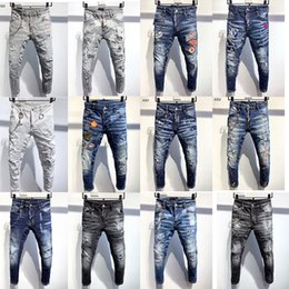 Wholesale hips stretch for sale - Group buy 5a Top High Quality Designer Mens Jeans men ripped Stretch Fashion Slim Fit Washed Motocycle Denim Pant Biker Hip Hop Trousers Black D2 jean