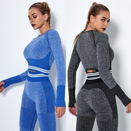 yoga shorts outfit Canada - 2pcs set Fitness Workout Set Women Seamless Yoga Set Leggings Shorts and Tops Gym Clothing Outfit Running Training Sports Suits