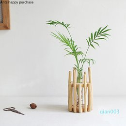 vase set decor NZ - 1 set Glass Vase Tube Shape Clear Flower Bottle with Wooden Shelf Wood Stand Glass Floral Hydroponic Container Home Decor