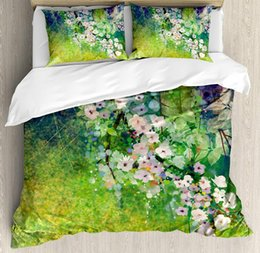 cherry tree paintings Canada - Flower Duvet Cover Set Traditional Multicolored Japanese Cherry Blossom Sakura Tree Petals Grass Land Paint Bedding Set