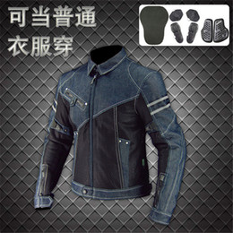 classic motorcycle jackets NZ - 19 Classic Komine JK-006 motorcycle jacket   racing jacket   off-road denim mesh racing suit with protective equipment