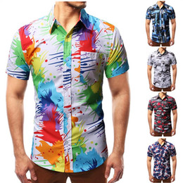 Discount colorful mens shirts Mens Colorful Splatter Paint Pattern Print Shirt Brand Design Slim Fit Short Sleeve Chemise Homme Fashion Splash Ink Shi