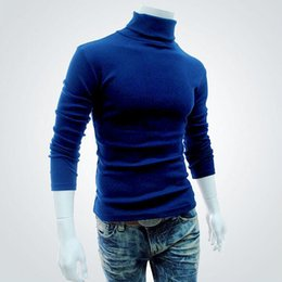 Wholesale black turtleneck sweater men cotton resale online - 2020 Spring Autumn Mens Pullovers Sweaters Turtleneck Knitted Sweater For Men Cotton Clothing Male Sweaters Black White XXL