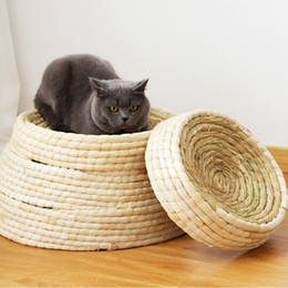 cat scratch pads UK - Pet Straw Braided Bed Puppy Kennel Cat Nest Kitten Scratching Sleeping Mat Pets House Cats Grinding Claw Cushion Pad