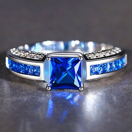 jewelry pave crystals gemstones Australia - Square sapphire gemstones zircon diamonds Rings for women blue crystal 18K white gold silver anillos mujer jewelry bijoux gift