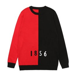 New Winter Pullover Mens Sweater Knitted Sweater Black Red Stitching Women Sweaters Mens Sweaters Knitwear Size M-XXL on Sale
