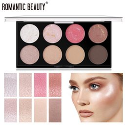 Discount palette shimmer cosmetic 8 Colors Eyeshadow Pallete Pearlescent Shimmer Longlasting Pigment Highlight Shading Powder Palette Blush Makeup Cosmeti