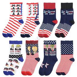 Wholesale striped athletic tube socks online – funny 2020 New President Trump Mid carf Length Sock Unisex Skateboard Hip Hop Socks Long Tube Stockings Letters Striped MAGA Socks Hosiery D82611