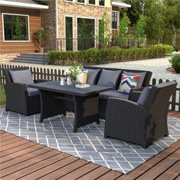 Venta al por mayor de Conjunto de muebles de u_style al aire libre moderno Conjunto de conversación de 4 piezas Conjunto de muebles de mimbre negro Conjunto con cojines gris oscuro wy000055aab
