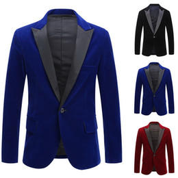 Wholesale velvet wedding blazers jackets resale online - 2020 New Shiny Men Blazer Jacket Vintage Velvet Suit Jacket Wedding Party Suit Groom Costume Stage Blazer Terno Masculino