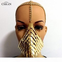 Wholesale cosplay medieval for sale – halloween Chran Chainmail Mask Bra Scalemail Shoulder Armor Cosplay Burning Man Headdress Head Chain Headband Medieval Ren Faire Jewelry