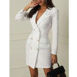 Wholesale women tuxedo slim resale online - 1PC Women Office Double Breasted Long Sleeve Tuxedo Dress Bodycon Slim Mini Dress Formal Women Blazer social Clothing