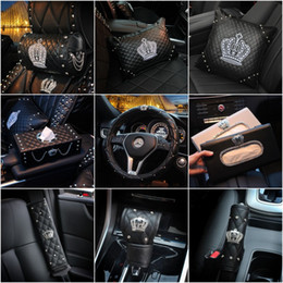 Crown Series Inerior Accessories for Girls Leather Car Steering Wheel Covers Sun Visor Tiessue Box Pillows Seatbelt Shifter Sets on Sale