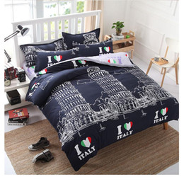 Wholesale twin towers for sale – custom Tower Set Love I Twin Bed Pisa Linen Comforter Duvet Bedclothes Leaning Bedding Full Cover Of Italy King Queen KfMeQ