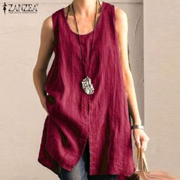 Wholesale long sleeveless tunic resale online – Casual Summer Tops Women s Cotton Blouse ZANZEA Vintage Solid O Neck Blusas Female Split Sleeveless Shirts Plus Size Tunic