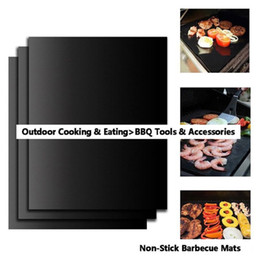 BBQ Grill Mat Durable Non-Stick Barbecue Mat 40*33cm Cooking Sheets Microwave Oven Outdoor BBQ Cooking Tool on Sale