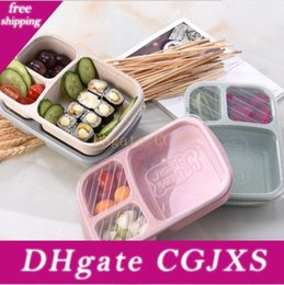 student lunch boxes UK - 3grid Wheat Straw Lunch Box Microwave Bento Boxes Natural Student Portable Food Fruit Storage Box Tableware 4styles Gga2845