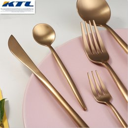 stainless steel for knives Australia - KuBac 30 Pcs Rose Gold Stainless Steel Dinnerware Fork Knife Scoops Dessert forks Cutlery Set Tableware For Party Y200111