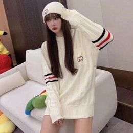 Wholesale knit a sweater resale online - Send a hat Fashion classical women sweaters round collar knitwear classic hoodie lovers sweater