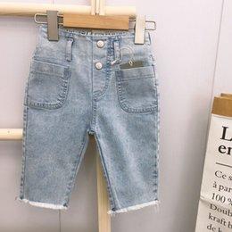 Wholesale jeans capri resale online - 2020 Summer new boys girls washed cattle Capri pants trendy children s denim shorts and jeans Shorts and jeans