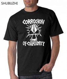 Wholesale stoner shirts online – design Corrosion Of Conformity T Shirt Punk Sludge Stoner Mens Metal Band Tee Black Cotton Tshirt Men Summer Fashion T Shirt Euro Size
