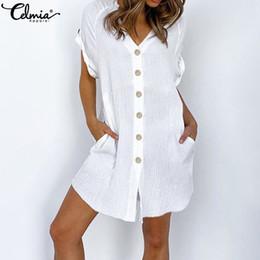Wholesale casual short sundresses for sale – plus size Celmia Summer Sexy Mini Dress Women Plus Size Sundress Ladies V neck Short Sleeve Casual Solid Party Beach Vestidos Robe