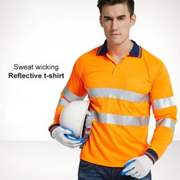 working t shirt Canada - Reflective Safety Clothing Quick Dry Night Work T-shirt Tops Workwear Dry Fit T Shirt Vest Breathable Work Safety Clothes T191226