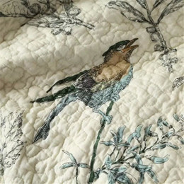 patchwork bedding UK - Wholesale-100% Cotton Quilt Bedspread Pastoral Bird and Flower Bed Quilt 3PC Set King Size Quilt Cover Set Home Textile Bedding Cloths TsDC#
