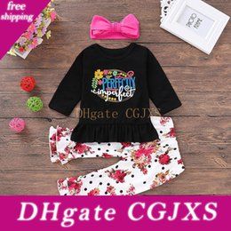 red baby vest UK - Ins2019 Explosion Models Autumn Children S Clothing Baby Letter Print Shirt Flower Print Pants Rose Red Hair With Three -Piece Suit P030