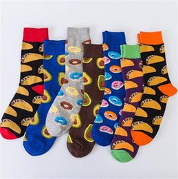 Wholesale combed cotton fashion socks online – funny Colorful fashion happy socks Combed cotton jacquard socks high quality delicious socks with avocado doughnut