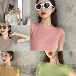 Wholesale tight silk shirt resale online - jJEcp Summer T shirt new women s avocado green slim T shirt short sleeved top tight ice silk knitwear thin elegant style
