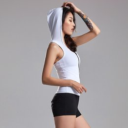 sexy white tight clothes UK - Sexy sports vest for women hooded sleeveless yoga stretch tights I-shaped running blouse fitness clothing