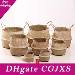 bamboo flower basket UK - Non Bamboo Natural Seaweed Woven Basket Mulit Colors Desk Planter Pots Foldable Handmade Flowerpot Garden Supplies Customizable Dbc Bh3206