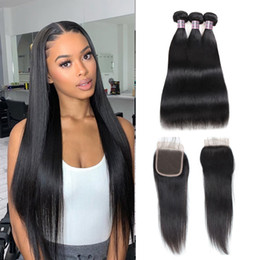 Ishow 9A Human Hair Bundles With Closure Water Curly Body Virgin Hair Extensions Deep Loose 3 4pcs With Lace Closure Straight