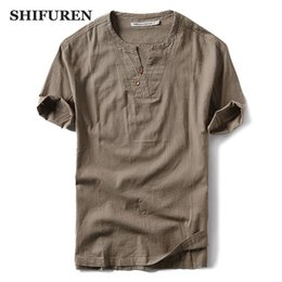 Wholesale men causal shirts resale online - SHIFUREN New Summer Men Thin Cotton Linen Shirts Short Sleeve Loose Fit Breathable Causal Male Dress Shirts Plus Size M XL