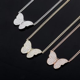 silver men nice chains Canada - Hot Trendy Men Women Necklace Jewelry Gold Plated CZ Butterfly Pendant Necklace with Free Cuban Chain Necklace Nice Gift