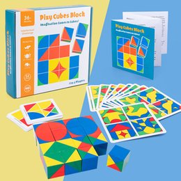 intellectual puzzle block NZ - Children Intellectual Early Teaching Puzzle Challenge Cube Space Thinking Block Game Imagination Cube Card & Building Block for Kid Toy