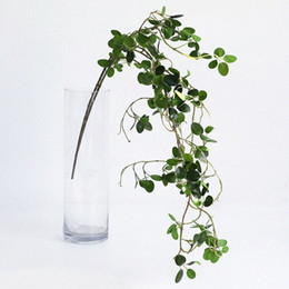 plastic green leaf vines Canada - Artificial Plant Green Banyan Branches Plastic Leaves Ranttan Lifelike Home Decorative Tree fake Leaf Vine dqVH#