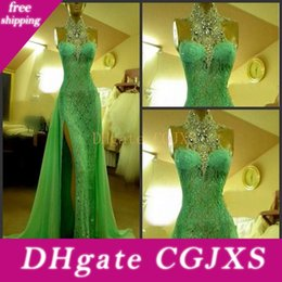 emerald green lace beaded dress UK - Emerald Green Split Evening Dresses Mermaid 2018 Beaded High Collar Lace Arabic Prom Gowns Floor Length Rhinestones Dubai Prom Party Gown