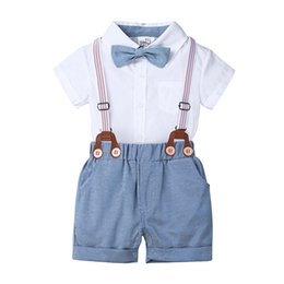 formal clothes for baby boys UK - 2020 summer sets for little boys baby rompers with bow + shorts 2pcs kids outfits toddler gentleman formal clothes MB513