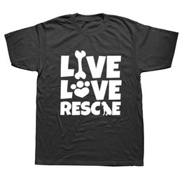 Live Love Rescue-lustige Tier-T-Shirt Dog Mom Crazy Cat Lustig Graphic Tee