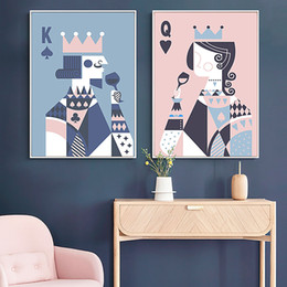 couple painting art UK - Game Art Poker King Queen Poster Couple Love Cheers Canvas Painting Prints Abstract Wall Art Decoration for Bedroom Chess Room