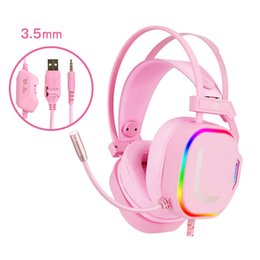 headphone girls UK - USB7.1 Gaming Headphones Girl Pink Noise Canceling Headsets for PC Computer Laptop Phone Tablet Games 3.5mm Microphone 7 Colorful LED